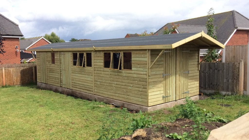 30x10 Garage with Partition and Canopy West Midlands Sheds & Summerhouses