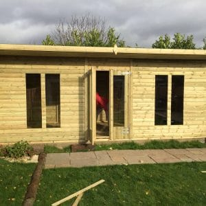 20x10 Pent Summerhouse Log Lap 19mm West Midlands Sheds & Summerhouses
