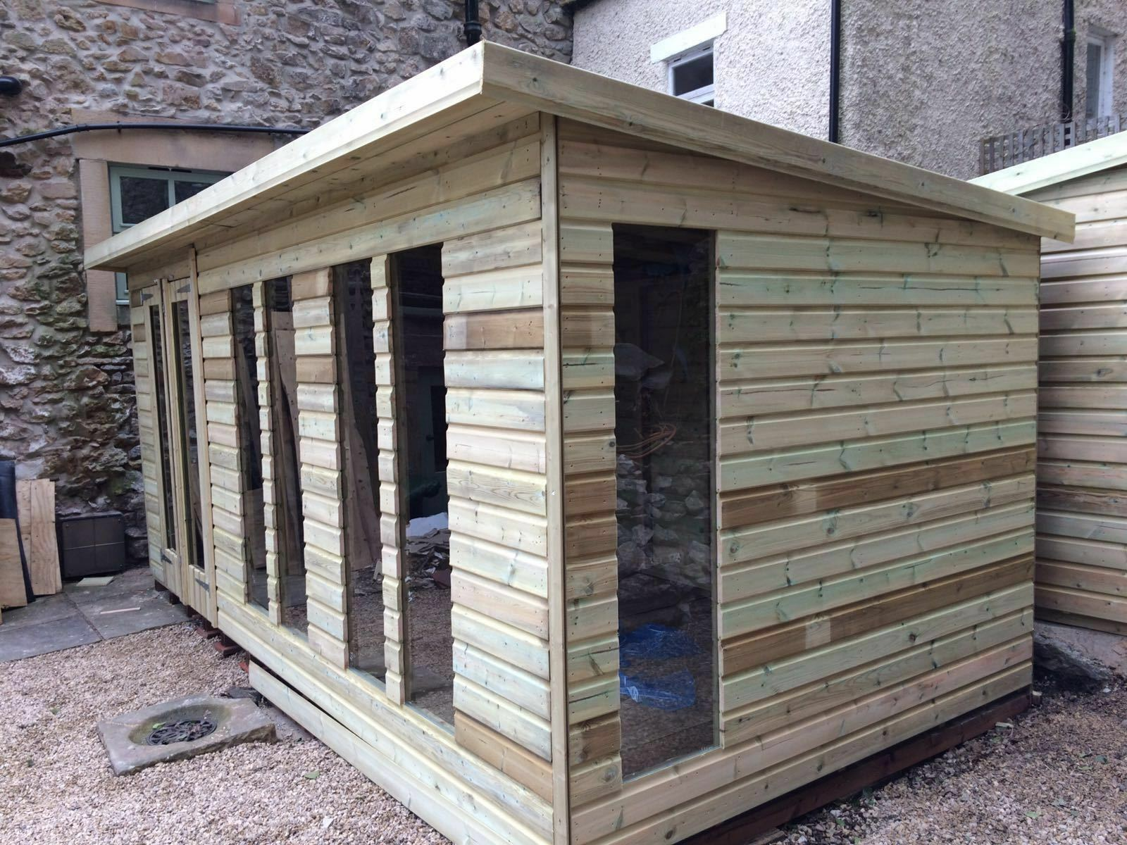 16 x 8ft Wooden Garden Tanalised Summerhouse with 2ft Flat ...