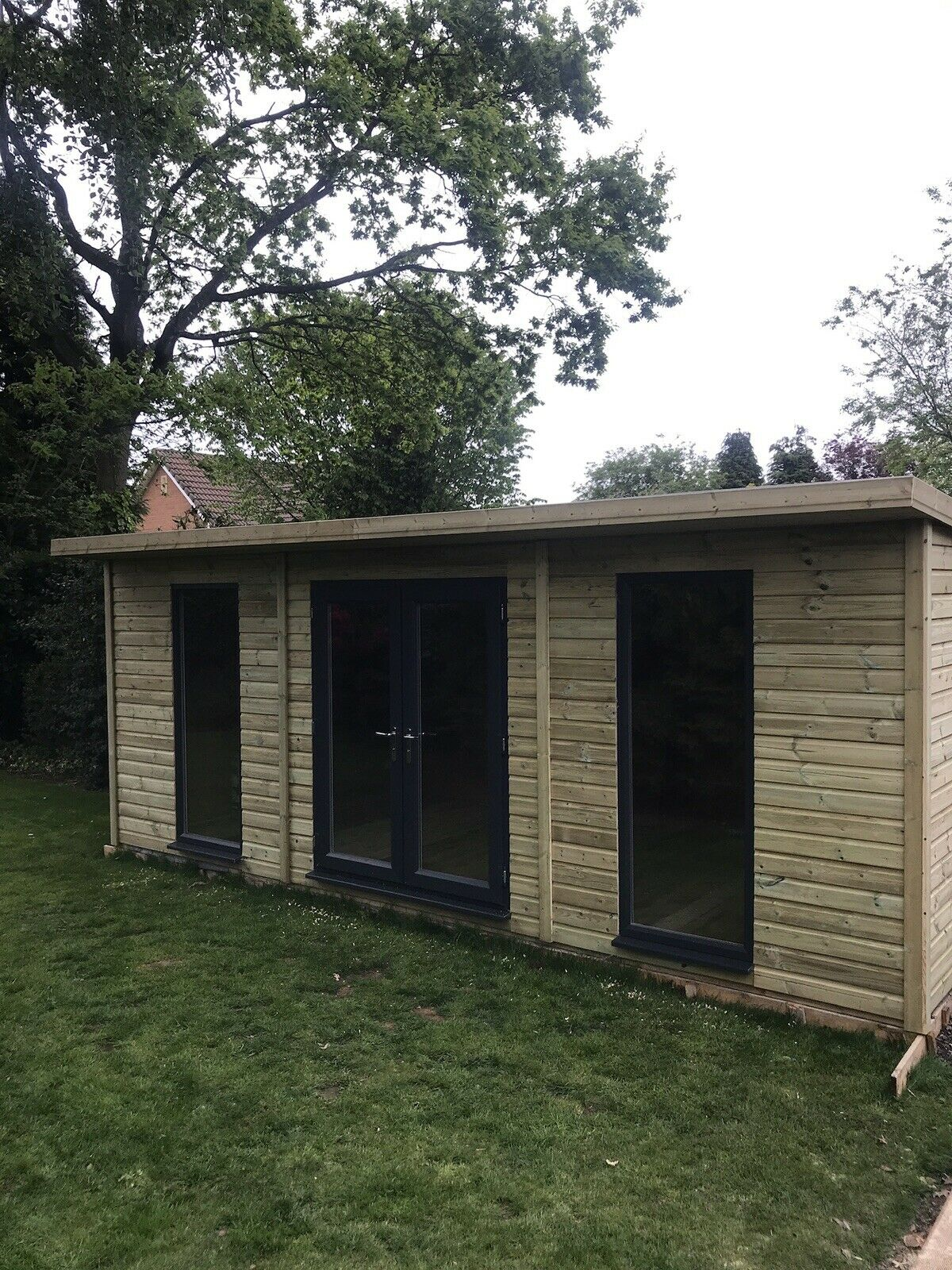 20 X 10ft Garden Workshop Studio Shed Contemporary Wooden Summerhouse With Canopy Midlands Sheds Summer Houses